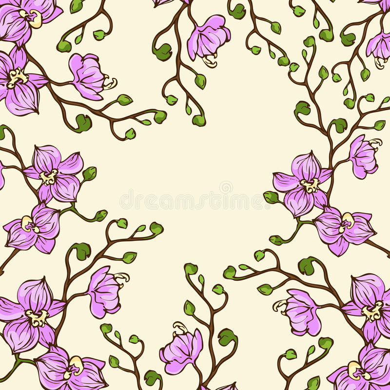 Free Vector Background With Pink Orchid Flowers Stock Photos - 50925313