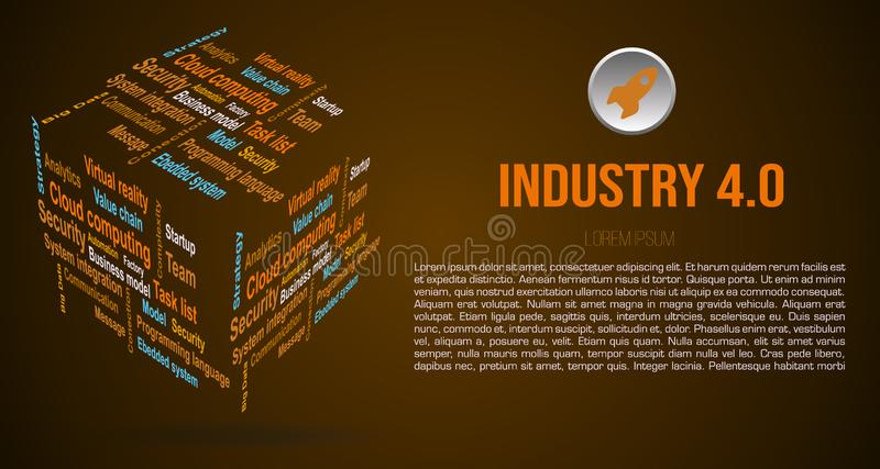 Vector background word cloud in 3D cube with terms about industry 4.0 in brown color stock photos