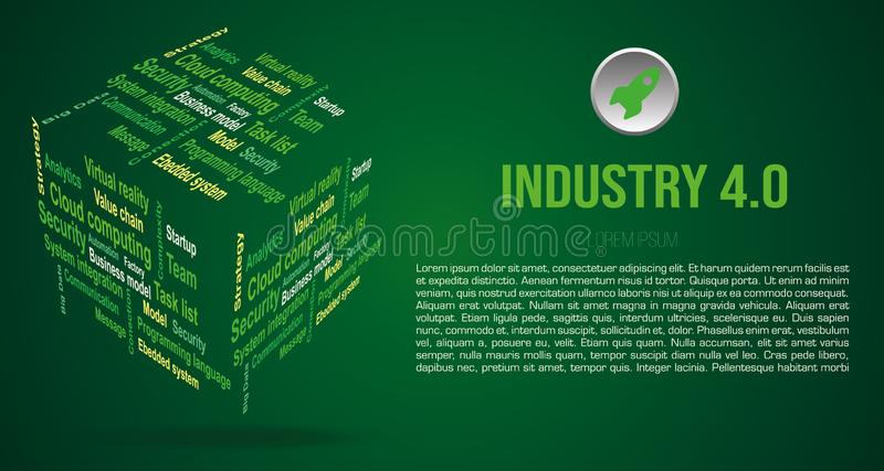 Vector background word cloud in 3D cube with terms about industry 4.0 in green color royalty free stock photo