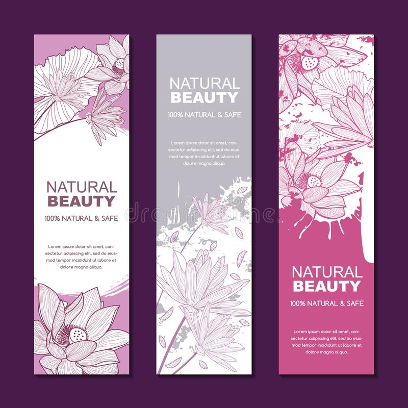 Vector backgrounds for label or package for natural herbal cosmetic. Set of backgrounds for label or package. Sketch hand drawn illustration of lotus flowers on royalty free illustration