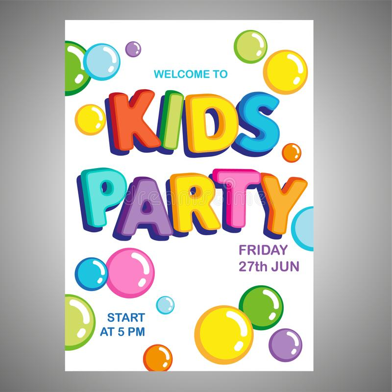 Vector  poster bright letters funny kids bubbles party. Vector backgroung poster with bright letters funny kids bubbles party for desighn stock illustration