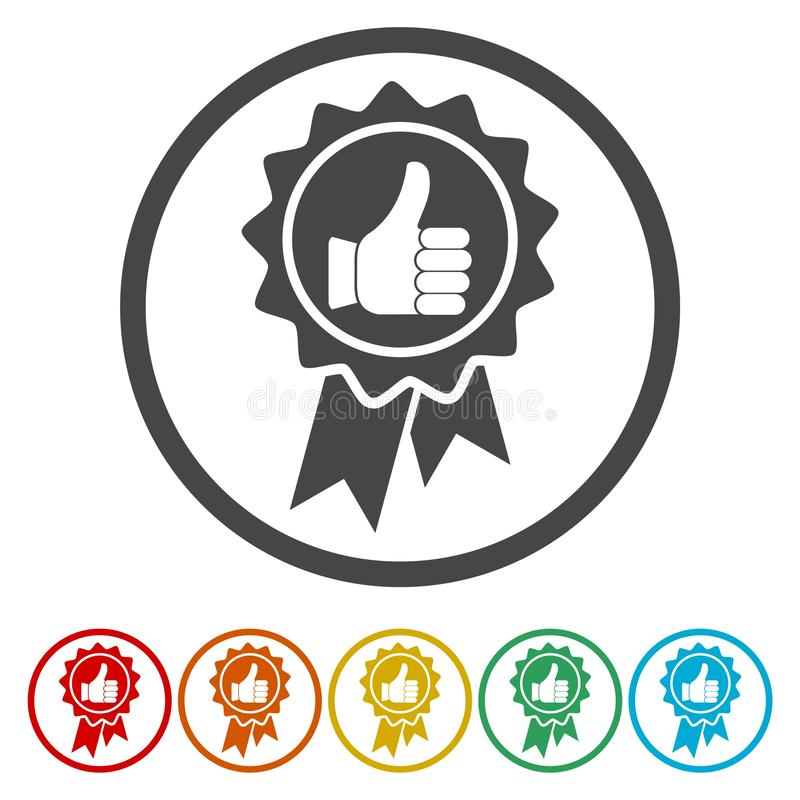 Vector badge with thumbs up icon royalty free illustration