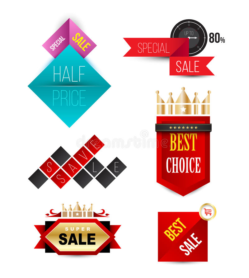 Vector Badges Ribbons and banners. royalty free illustration