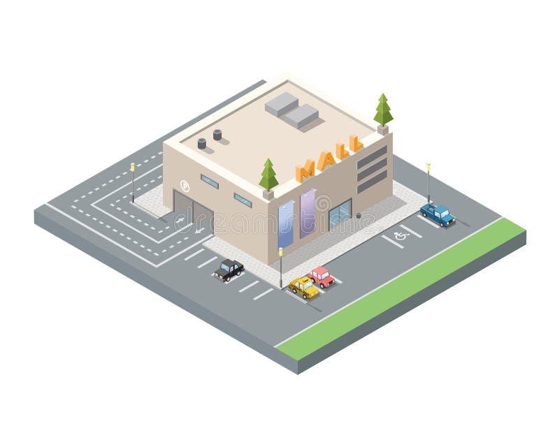 Vector a baixa alameda poli isométrica, centro de compra com estacionamento subterrâneo do carro ilustração do vetor