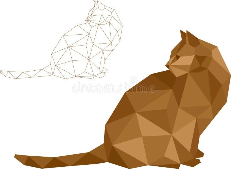 Vector bajo del gato del polígono foto de archivo libre de regalías