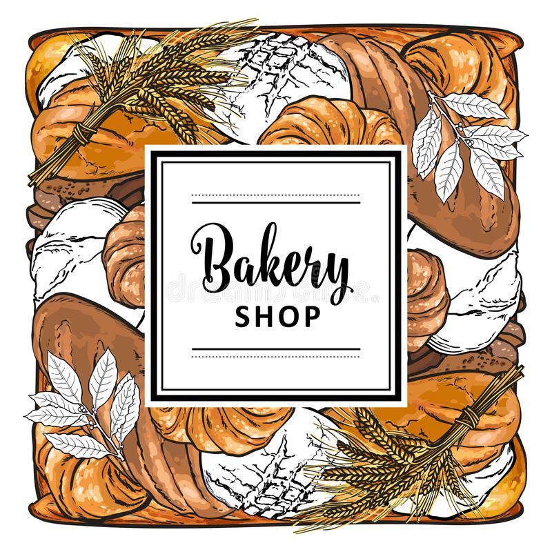 Vector bakeshop brand logo with loafs of bread vector illustration