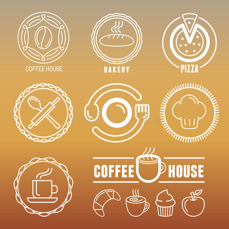 Vector bakery and pastry emblems. And icons in outline style - abstract logo design elements for cafes and coffee houses vector illustration