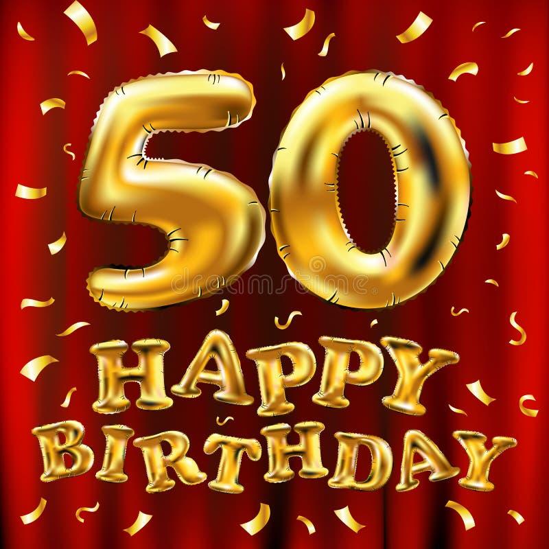 Vector balões do ouro da celebração do feliz aniversario 50th e brilhos dourados dos confetes projeto da ilustração 3d para seu c ilustração stock