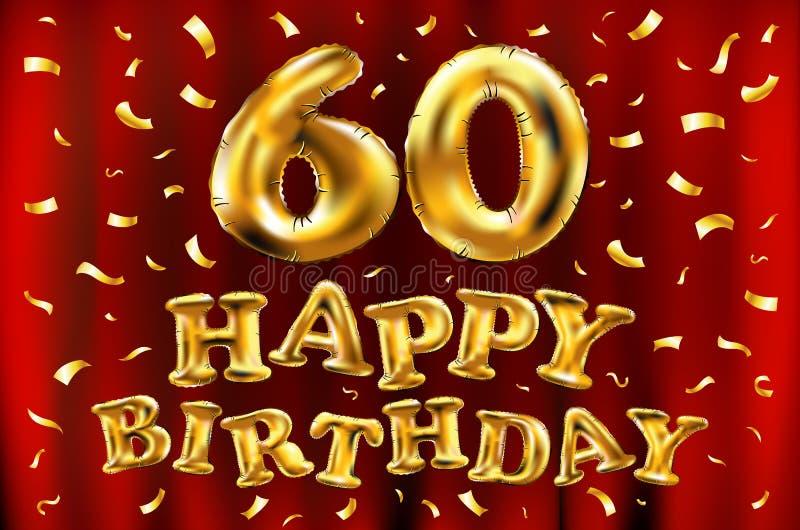 Vector balões do ouro da celebração do feliz aniversario 60th e brilhos dourados dos confetes projeto da ilustração 3d para seu c ilustração royalty free