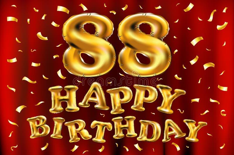 Vector balões do ouro da celebração do feliz aniversario 88th e brilhos dourados dos confetes projeto da ilustração 3d para seu c ilustração do vetor