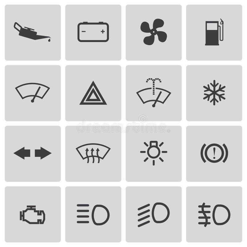 Vector balck car dashboard icons set vector illustration