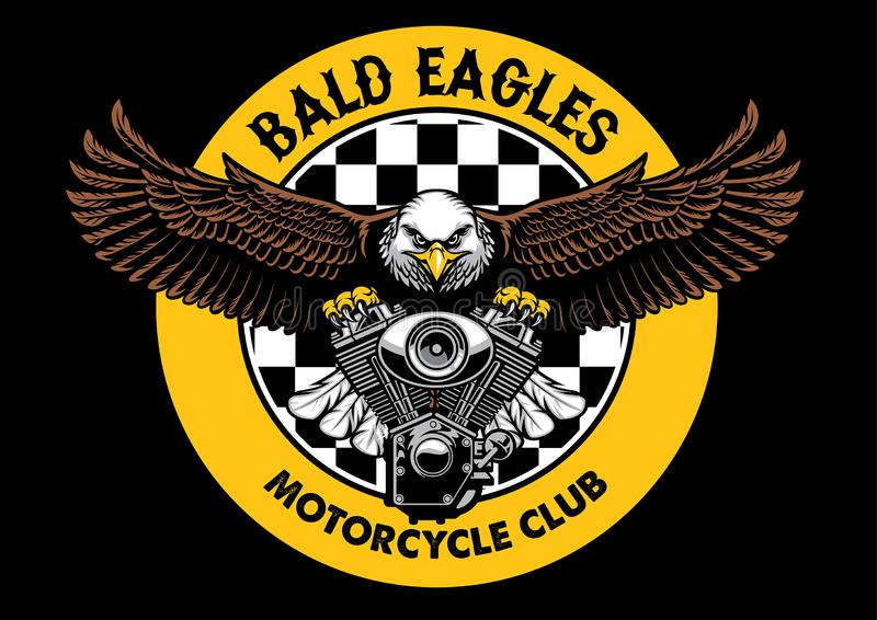 Bald eagle badge grip the motorcycle engine stock illustration