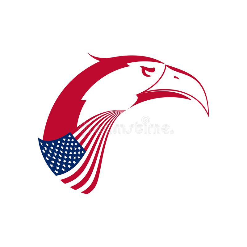 Vector Bald Eagle`s Head Emblem. Stylized Symbol of United States. American Eagle and American Flag royalty free illustration