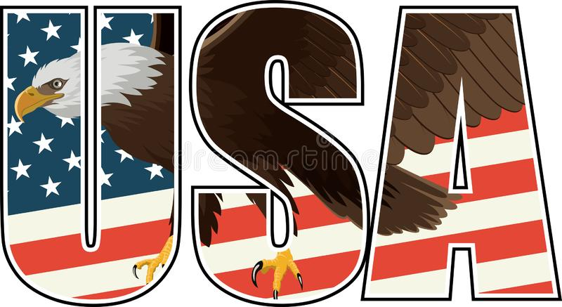 Vector Bald Eagle on US flag illustration. Illustration on white stock illustration