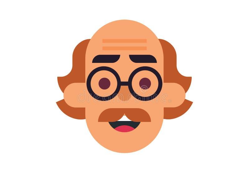 Vector Bald man on the White Blackground vector illustration