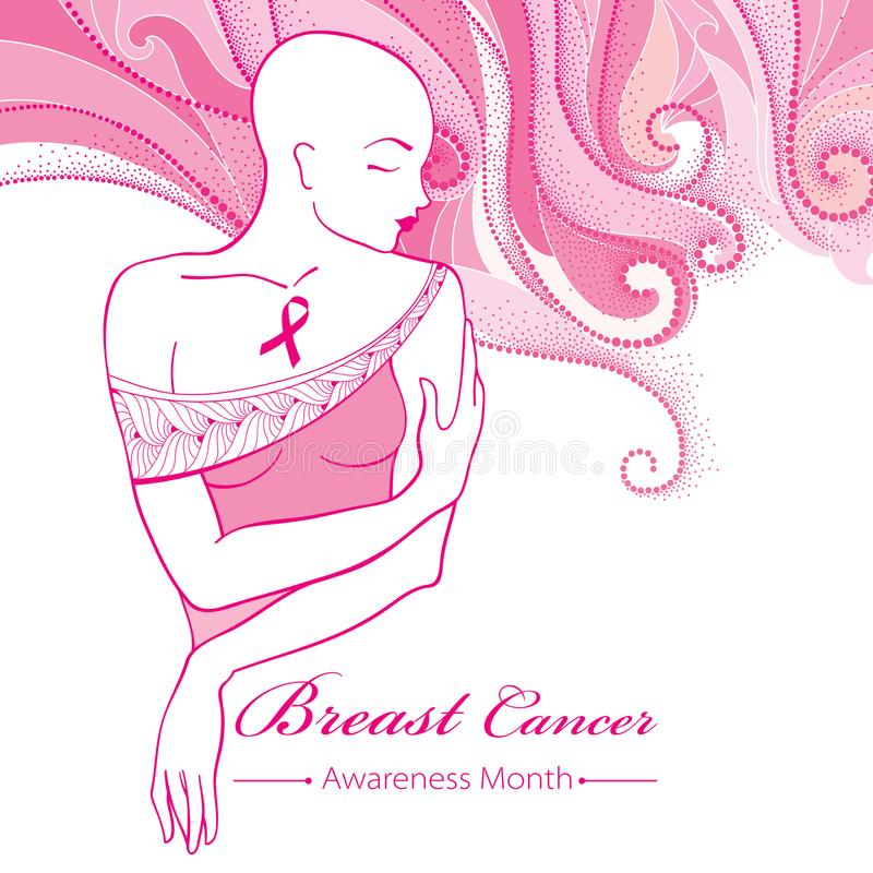 Vector bald woman after chemotherapy with pink ribbon on the background with dotted pink swirls. Breast Cancer Awareness Month. Vector bald woman after stock illustration