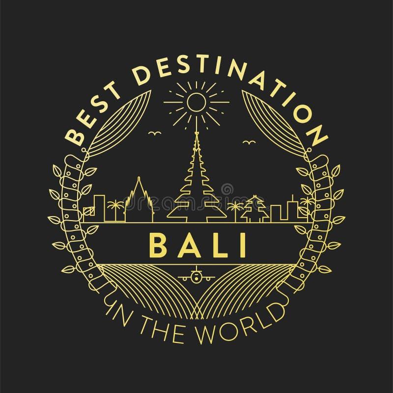 Vector Bali City Badge, Linear Style stock illustration