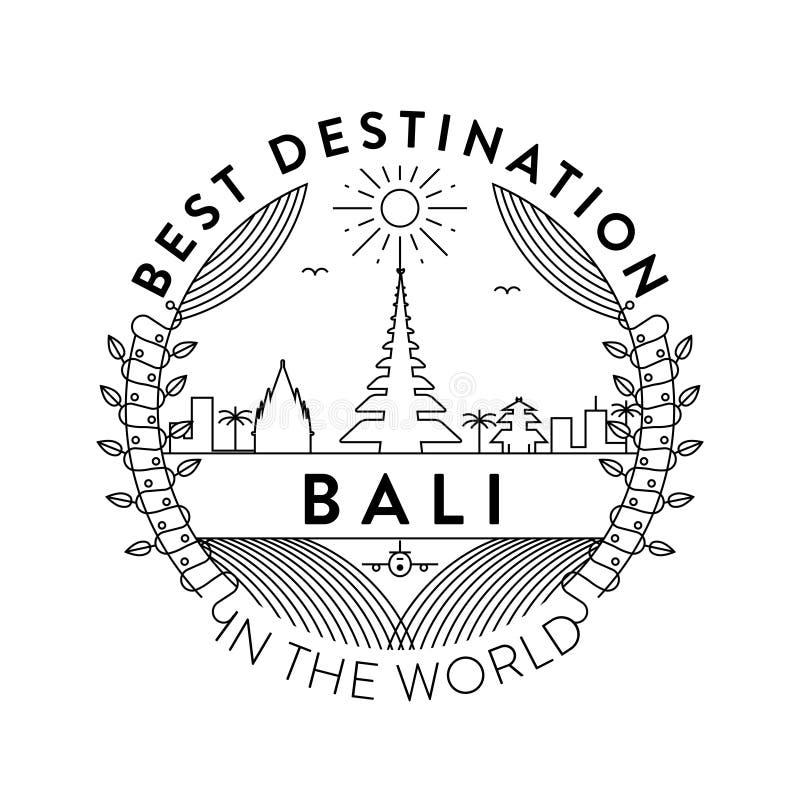 Vector Bali City Badge, Linear Style vector illustration