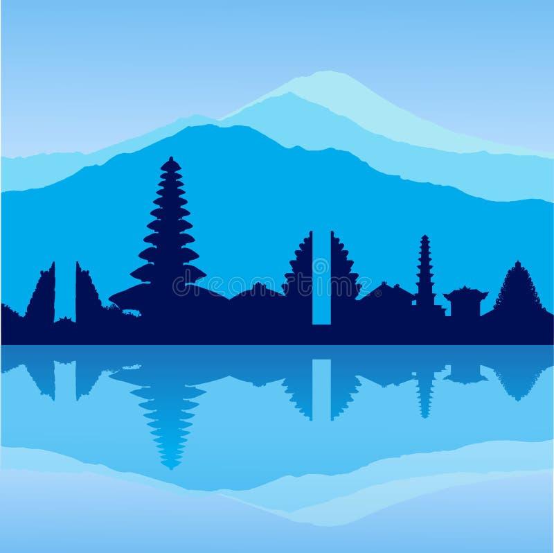 Vector Bali skyline royalty free illustration
