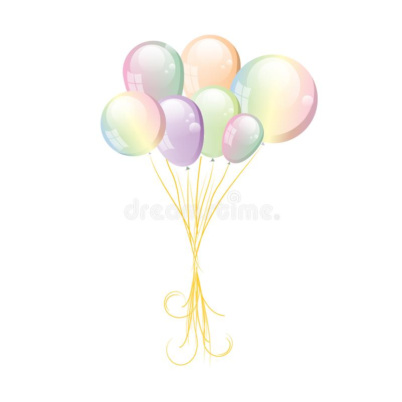 Vector balloons isolated on a transparent background. stock illustration