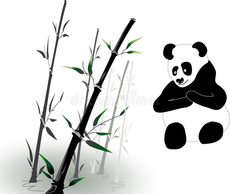 Vector Bamboo And Panda Stock Photography
