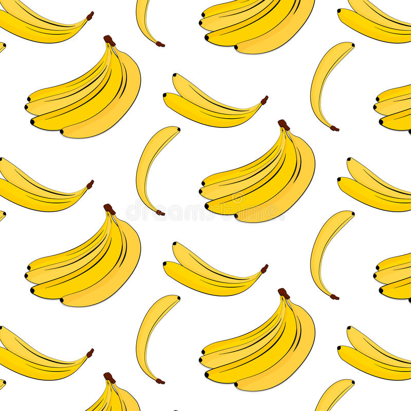 Vector banana pattern. Yellow summer plant colorful background. Banana tropical natural fruit print. Food vegan cover vector illustration