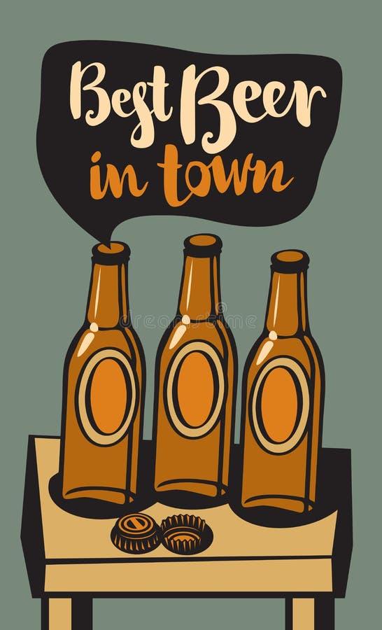 Vector a bandeira com as garrafas de cerveja na tabela ilustração stock