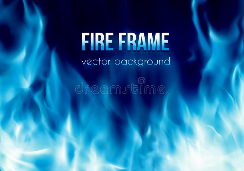 Vector a bandeira com quadro ardente do fogo da cor azul ilustração do vetor