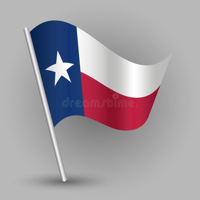 Vector a bandeira de ondulação do estado americano do triângulo no polo de prata inclinado - ícone de texas com vara do metal ilustração do vetor