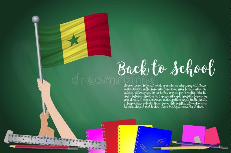 Vector a bandeira de senegal no fundo preto do quadro Educação ilustração stock