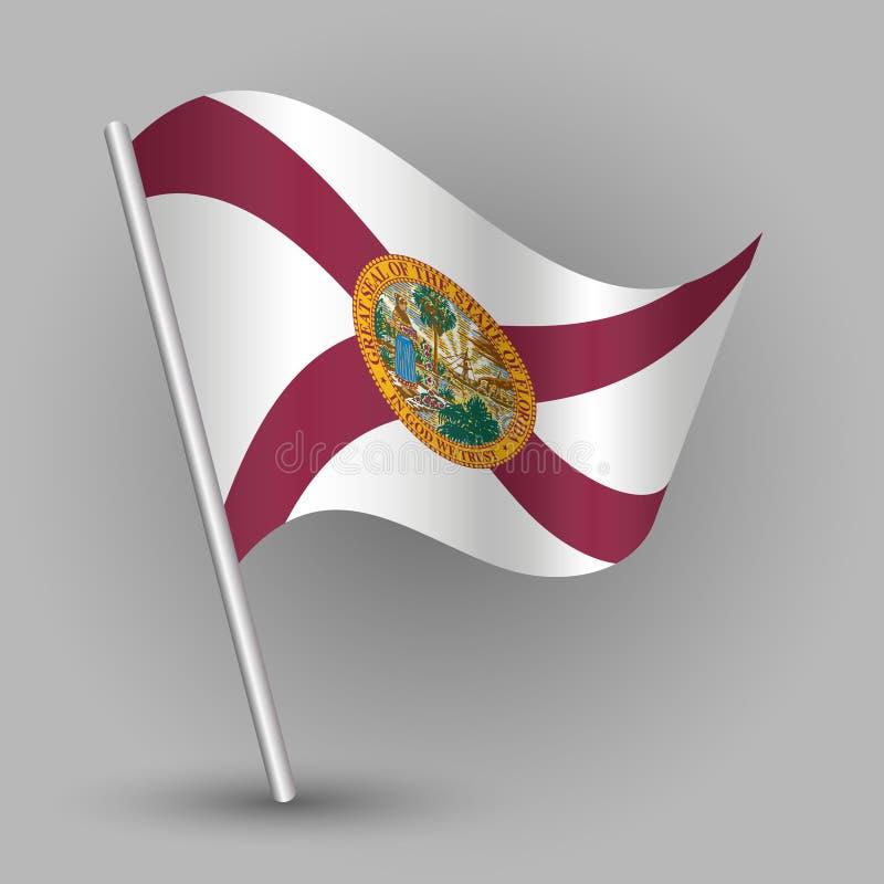 Vector a bandeira do estado americano do triângulo no polo de prata inclinado - ícone de florida com vara do metal ilustração stock