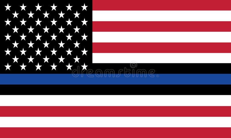 Vector a bandeira do Estados Unidos com linha azul para honrar a polícia e a lei ilustração do vetor