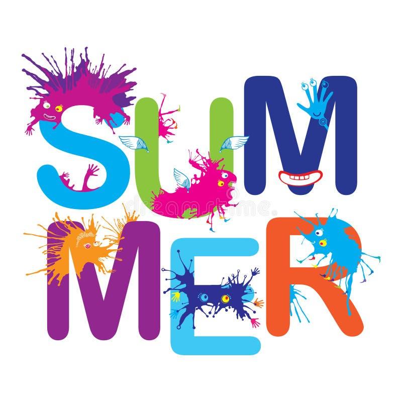 Vector a bandeira do verão com os monstro engraçados dos desenhos animados isolados no fundo branco Composição quadrada com coleç ilustração royalty free