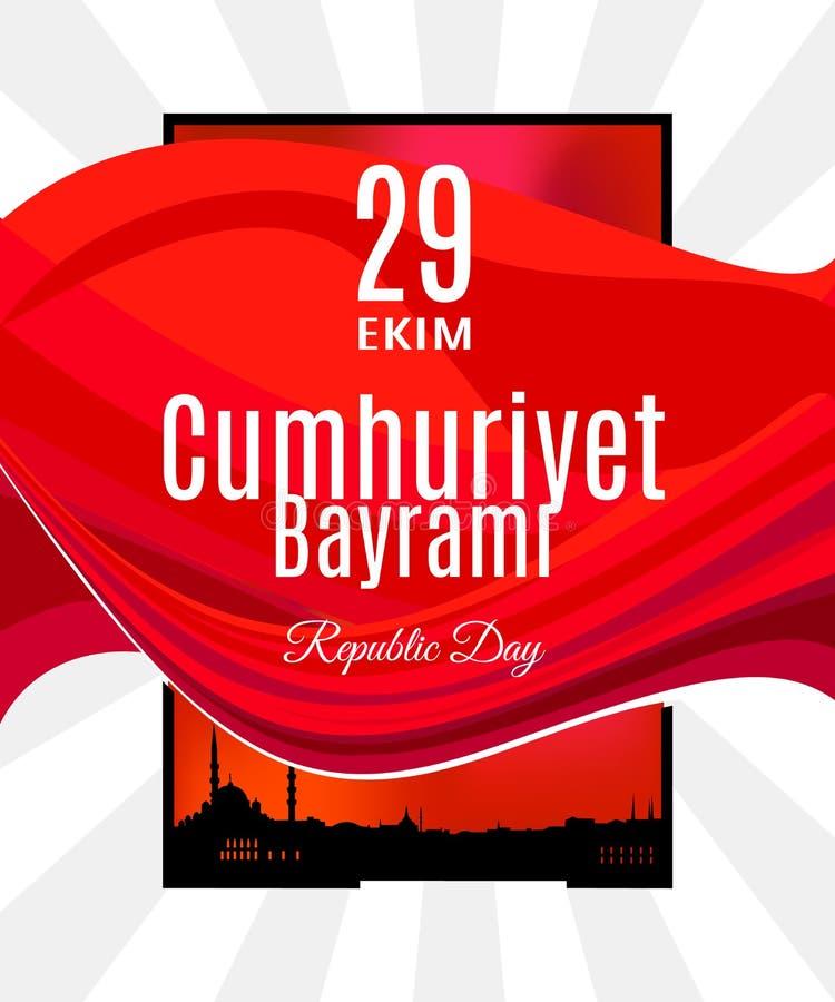 Vector a bandeira ou o cartaz com a bandeira de Turquia e skyline abstratas de Istambul ilustração royalty free