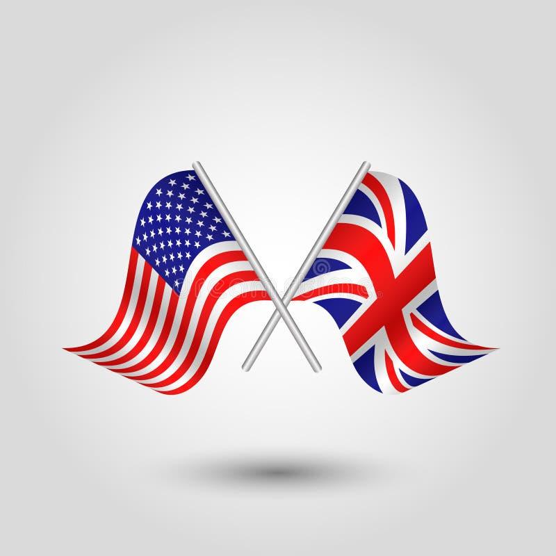 Vector bandeiras americanas e britânicas nas varas de prata - símbolo de Estados Unidos da América e de Reino Unido ilustração stock