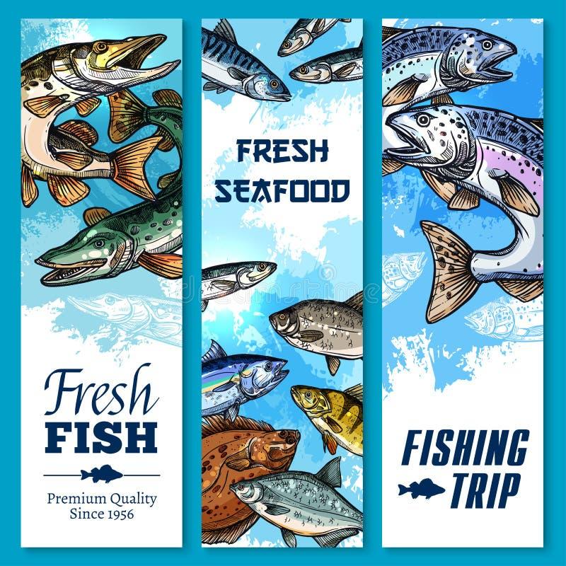 Vector bandeiras da viagem de pesca e da captura de peixes ilustração do vetor