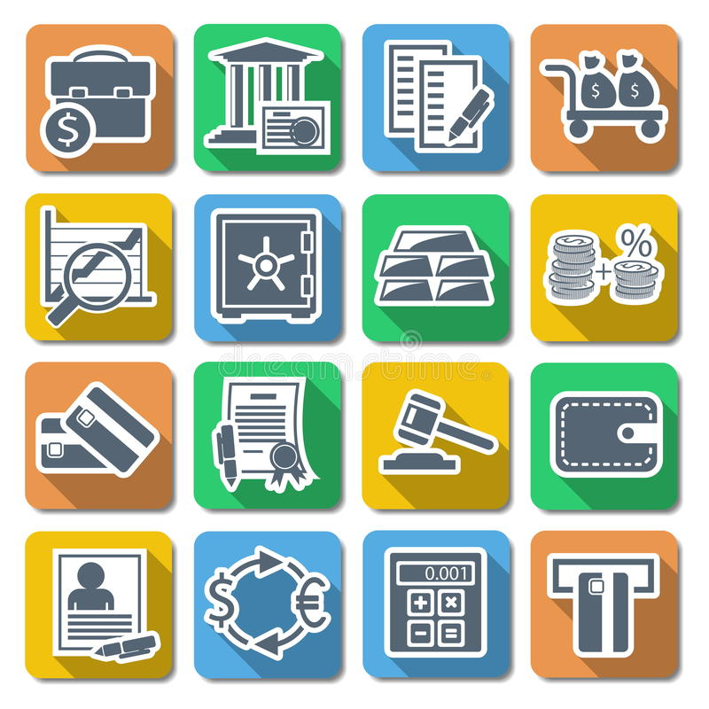 Download Vector Bank Flat Icons stock vector. Image of keep, bill - 36722295