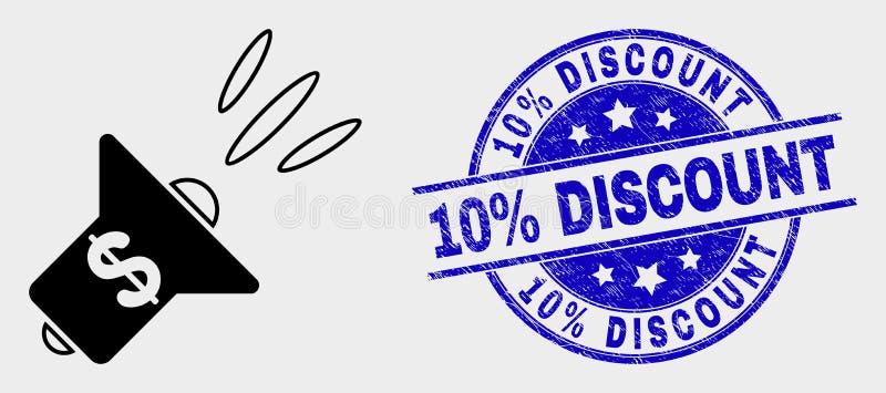 Vector Banking Advertising Megaphone Icon and Distress 10% Rabais Seal illustration stock