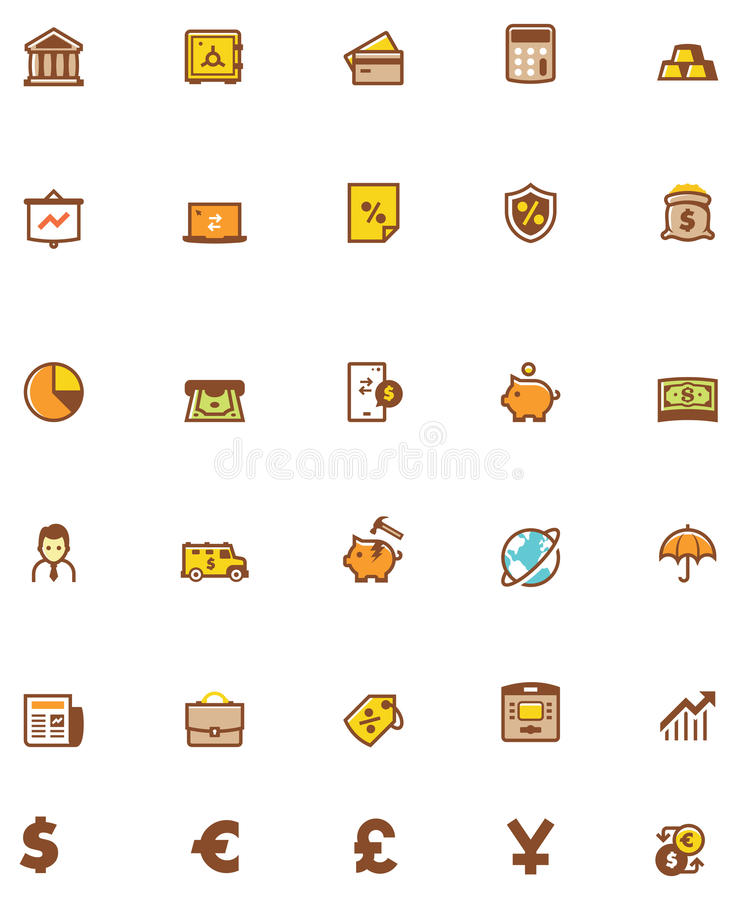 Vector banking icon set. Set of the banking related icons royalty free illustration