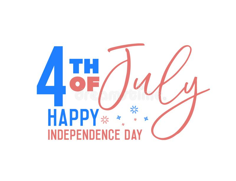 Vector banner for American 4th of July, independence day with text, USA flag colors, firework elements. royalty free illustration