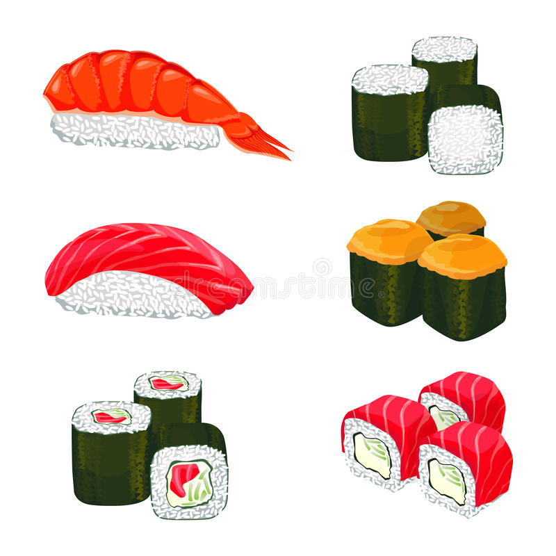 Vector banner of asian rolls with white rice, salmon ingredients. Collection of sushi types. Vector banner of asian rolls with white rice, salmon and other royalty free illustration
