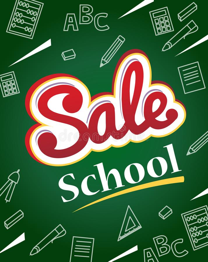 Vector banner back to school sale. Flyer and banner with colorfu. L text on dark green school board. white icons hand-drawn with chalk on blackboard. Vector stock illustration