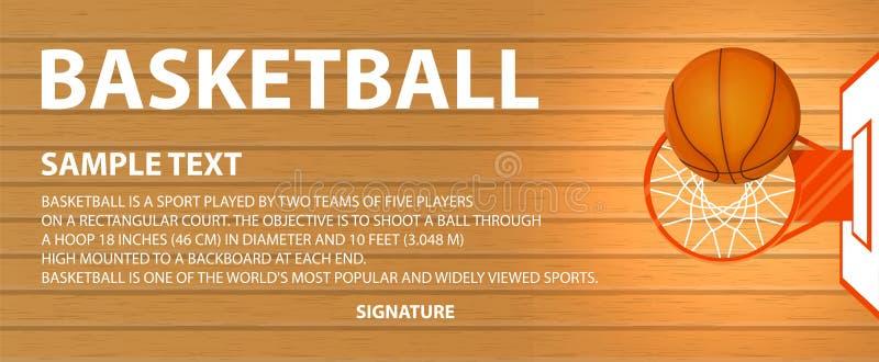 Vector banner, basketball court, a ball in basket stock illustration