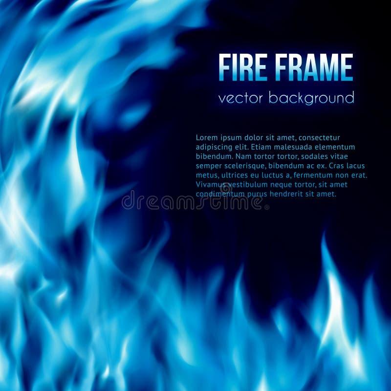 Vector banner with blue color burning fire frame vector illustration