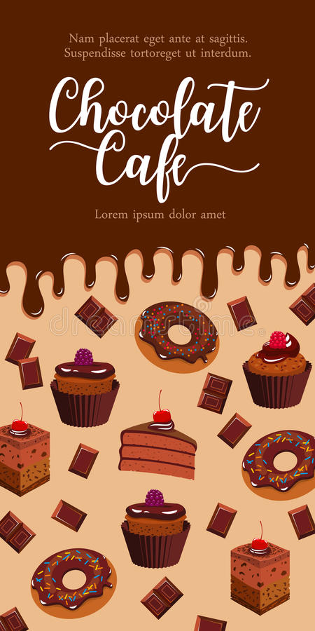 Vector banner for chocolate desserts cafe vector illustration
