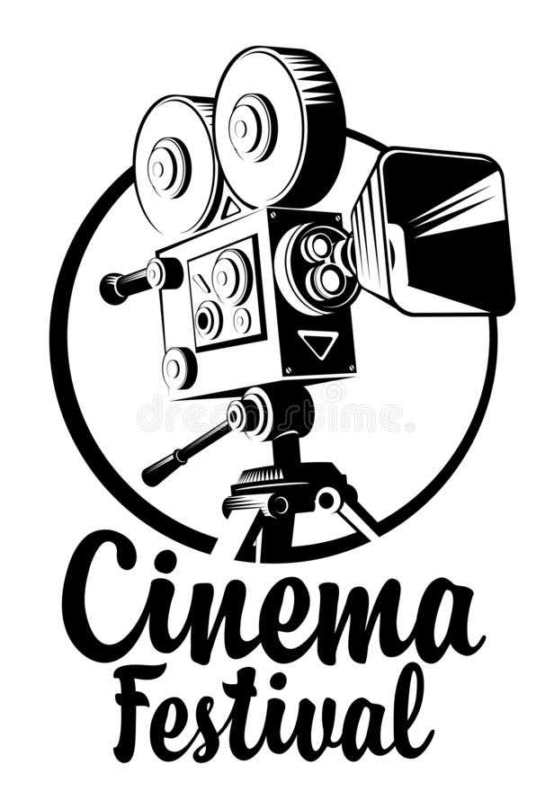 Banner for cinema festival with old movie camera. Vector banner for cinema festival with old-fashioned movie projector and calligraphic inscription. Black and royalty free illustration
