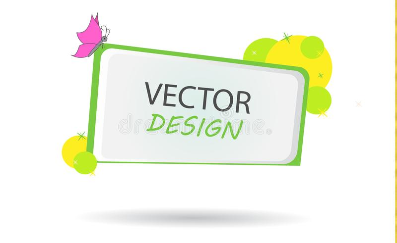 Vector banner with with circles. Frame for text. Frame for the banner. Block with a note on the site. Cartoon frame for text. Design for school postcards royalty free illustration