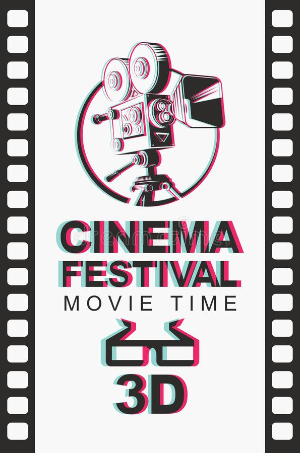 Banner for 3D cinema festival with 3d glasses. Vector banner for 3D cinema festival with blurred image of old-fashioned movie projector and 3D glasses on the vector illustration