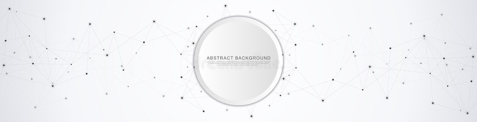 Vector banner design. Geometric abstract background with connected dots and lines. Molecular structure and communication. Digital royalty free illustration