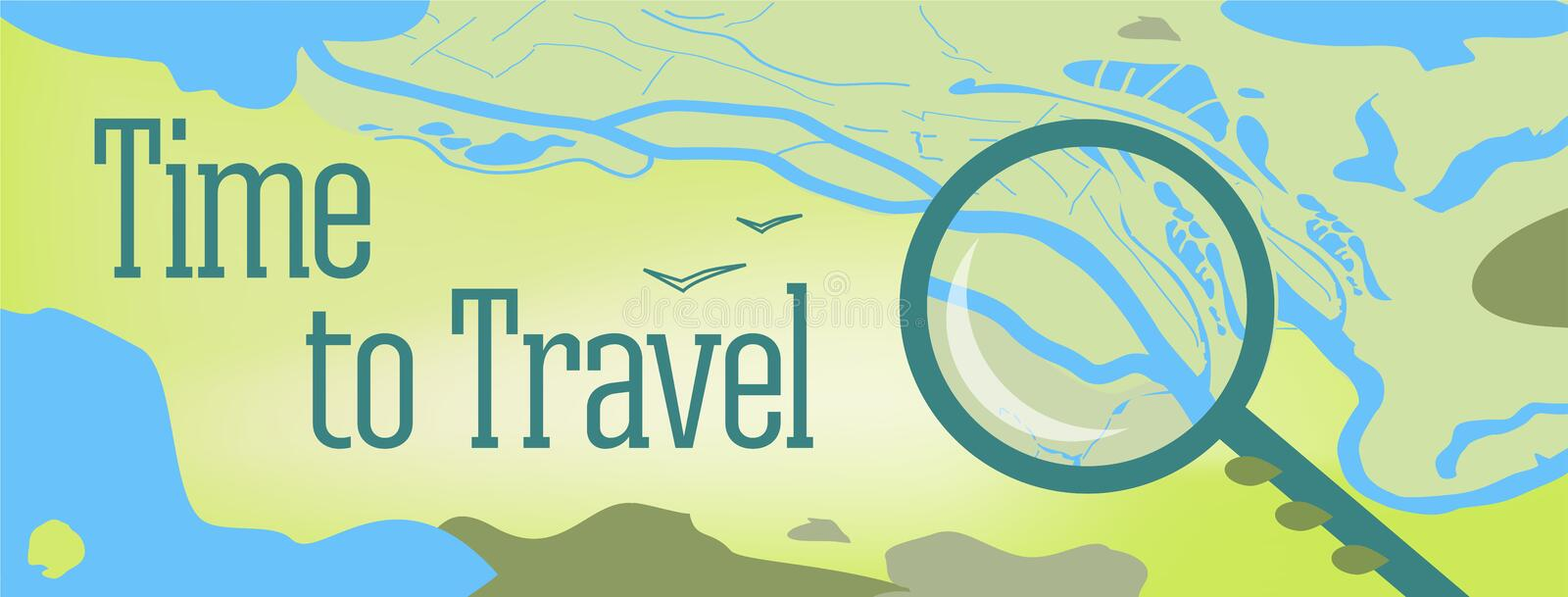 Vector banner design with text Time to Travel. Illustration of a map of the world, with the sea, lakes, mountains vector illustration